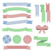 Set flat color ribbons, badges, bookmarks and bow. Blue, green, — Stock Vector