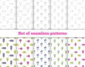 Set seamless patterns. Line design, ice cream. Vector illustrati — Stock Vector