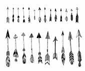 Set of hand drawn, vector arrows. Ethnic Indian arrow, doodles. Black, white. Vector — Stock Vector