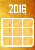 Calendar for 2016. Happy New Year. Polygonal background. — Stock Vector