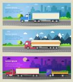 Set of web banners trucks. Color flat icons. — Stock Vector