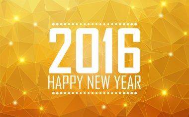 Greeting card Happy New Year 2016. Polygonal background, stars,