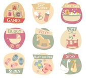 Baby life flat icons — Stock Vector