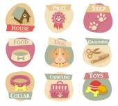 Dog life flat icons — Stock Vector