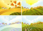 Illustration of four season: winter, spring, summer, autumn — Stock Vector