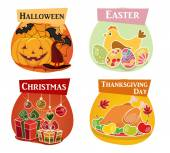 Thanksgiving day, Easter, Halloween, Christmas flat icons — Stock Vector