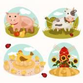 Animals on the farm — Stock Vector