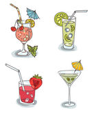 Different cocktails with fruit — Stock Vector
