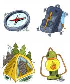 Camping set — Stock Vector