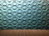Clean empty room with wooden floors and hexagon textured wall — Foto de Stock