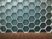 Clean empty room with wooden floors and textured wall an hexagon shaped shelves — Stock Photo