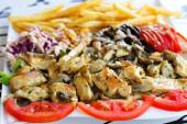 Grillad meat with mushrooms. — Stock Photo