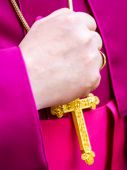 Bishops hand laid on the cross called pectoral — Stock Photo