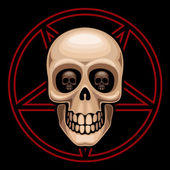 Skull and pentagram — Stock Vector