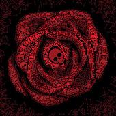 Red rose of skulls and bones — Stock Vector