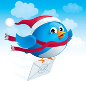 Flying blue bird with envelope — Stock Vector