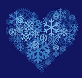 Coração de neve — Vetor de Stock