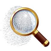 Thumbprint examination — Stock Vector