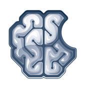 Vector bitten brain. Top view — Stock Vector