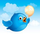 Flying blue bird — Stock Vector