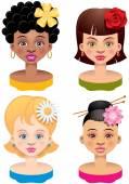 Quattro ragazze — Vettoriale Stock