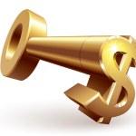 Gold dollar key — Stock Vector #56204409