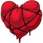 Dikenli tel ile kalp — Stok Vektör