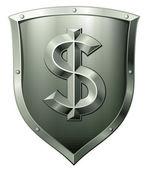 Metall sköld med dollartecken — Stockvektor