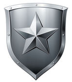 Metal shield with star — Stock Vector