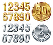 Metal digits — Stock Vector