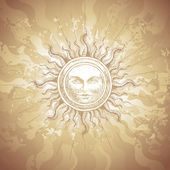 Old-fashioned sun decoration — Stock vektor
