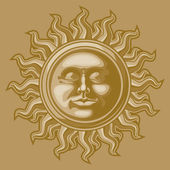 Old-fashioned sun decoration — Stock Vector