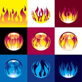 Flame set — Stock Vector