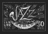 Poster of Jazz festival on the chalkboard — Stock Vector