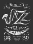 Poster Jazz Festival on the blackboard — Stock Vector