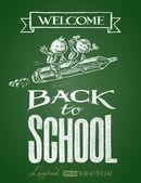 Zpátky do školy. Nápis na tabuli — Stock vektor