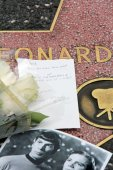 Flowers on Leonard Nimoy's Star on the Hollywood Walk of Fame — Stock Photo