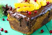 Pumpkin cake with chocolate and oranges — Stock Photo