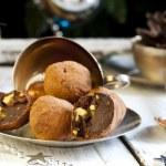 Chocolates with pistachio praline, cognac and liqueur — Stock Photo #60054929