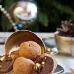 Chocolates with pistachio praline, cognac and liqueur — Stock Photo #60054947