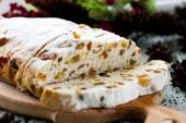 Cheese Stollen with dried fruit and pistachios — Stock Photo