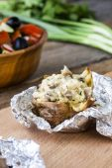 Baked potato with mushrooms — Stockfoto