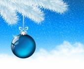 Christmas glassy blue ball — Stok fotoğraf