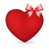 Red heart with bow — Stock Photo