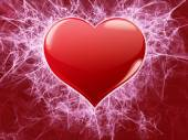 Red heart with fractals decor — Stock Photo