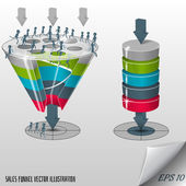 Conversion or sales funnel 3d, vector graphics — Stock Vector