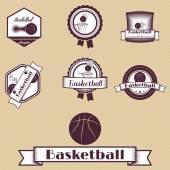 Badge set basketball retro  — Vettoriale Stock