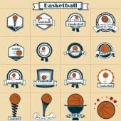 Märket anger basket retro — Stockvektor