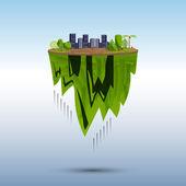 Flying island (modern city) — Vector de stock