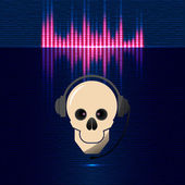 Skull in headphones, equalizer in blue shades — Stock Vector